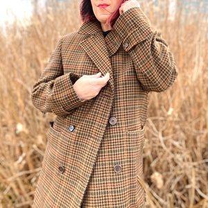 Vintage Wool  Aquascutum Houndstooth Check Coat